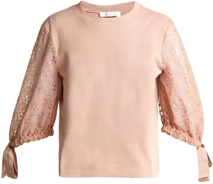 Lace-sleeve cotton top