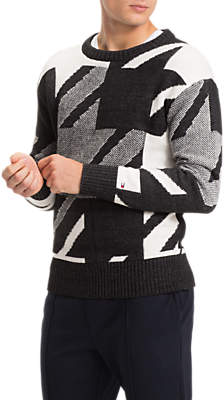 Tommy Hilfiger Houndstooth Abstract Print Jumper, Charcoal