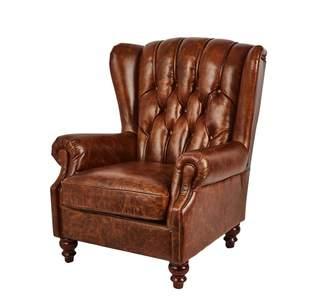 Carter Sinclair Vintage Leather Chesterfield Club Chair Cognac