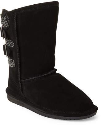 BearPaw Kids Girls) Black Boshie Real Fur Boots