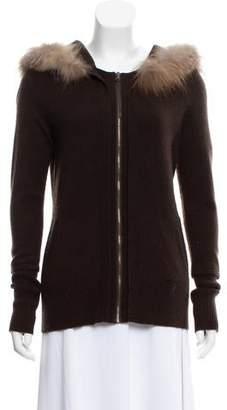 Magaschoni Cashmere Fur-Trimmed Cardigan