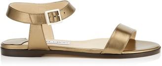 Jimmy Choo CITY SANDAL FLAT Light Gold Metallic Leather Sandals