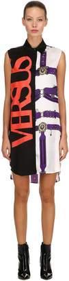 Versus Belts & Logo Sleeveless Shirt Dress