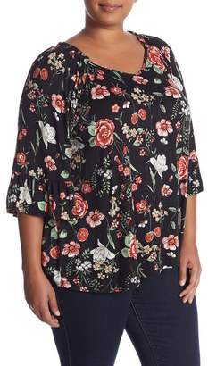 Bobeau Bell Sleeve Floral Print Tee (Plus Size)