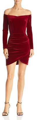 Aqua Ruched Off-the-Shoulder Velvet Dress - 100% Exclusive