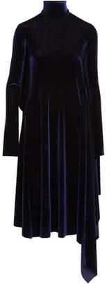 Vetements Open-Back Asymmetric Velvet Turtleneck Dress