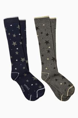 Next Womens FatFace Grey And Navy Star Print Welly Socks Two Pack