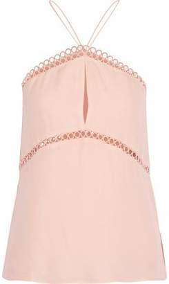 CAMI NYC The Reese Lace-Trimmed Silk Crepe De Chine Halterneck Top
