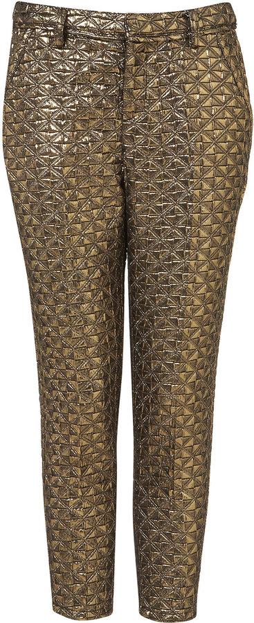 Petite Gold Jacquard Trousers