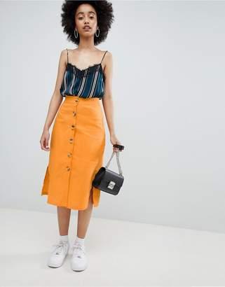 Bershka button front linen skirt plain in orange