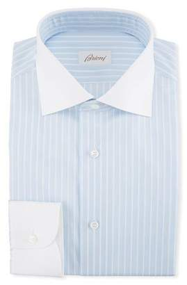 Brioni Striped Dress Shirt with Contrast Collar & Cuffs