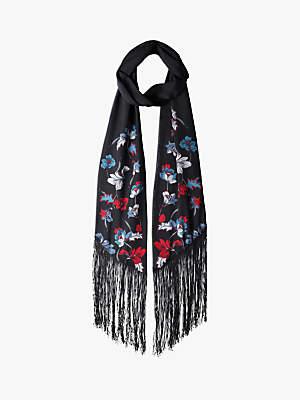 Hush Silk Fringe Scarf, Black/Multi