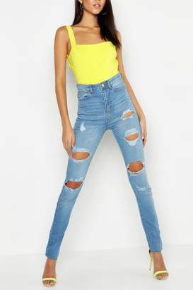 boohoo Tall One Button Distress High Rise Skinny Jean