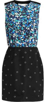 Victoria, Victoria Beckham Woman Paneled Printed Silk And Crepe Eyelet Mini Dress Black Size 8 Victoria Beckham