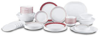 Corelle Crimson Trellis Living Ware 74 Piece Dinnerware Set, Service for 12