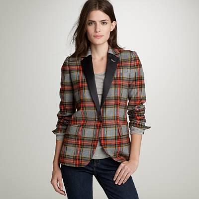 Plaid satin-lapel tuxedo jacket