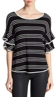 Cable & Gauge Striped Double Ruffle Sleeve Shirt