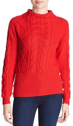 Marled Cable-Knit Button Sweater