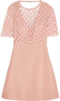 Sandro Crochet-Paneled Cotton And Linen-Blend Mini Dress $570 thestylecure.com