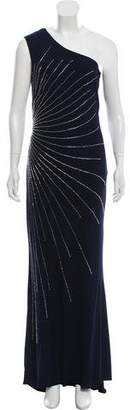 Mikael Aghal One-Shoulder Evening Dress