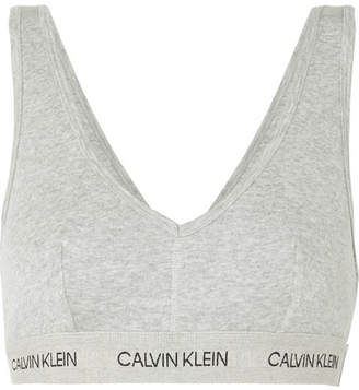 Calvin Klein Underwear Ribbed Cotton-jersey Soft-cup Bra - Gray
