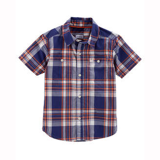Carter's Plaid Short Sleeve Button-Front Shirt - Toddler Boys 2T-5T