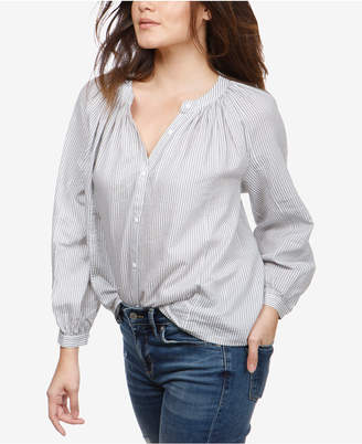 Lucky Brand Cotton Striped Poet Blouse