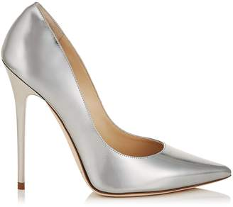Jimmy Choo ANOUK Silver Liquid Mirror Leather Pointy Toe Pumps