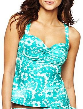 JCPenney Bisou Bisou® Inked Floral Twist-Front Tankini Swim Top