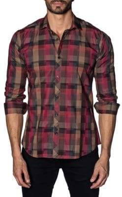 Jared Lang Plaid Cotton Button-Down Shirt