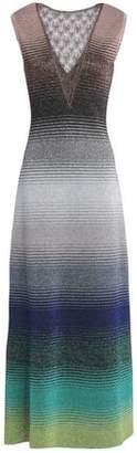 Missoni Crochet-Paneled Metallic Stretch-Knit Maxi Dress