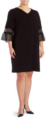Vince Camuto Vince Camuto, Plus Size Women's Lace-Sleeve Solid Dress