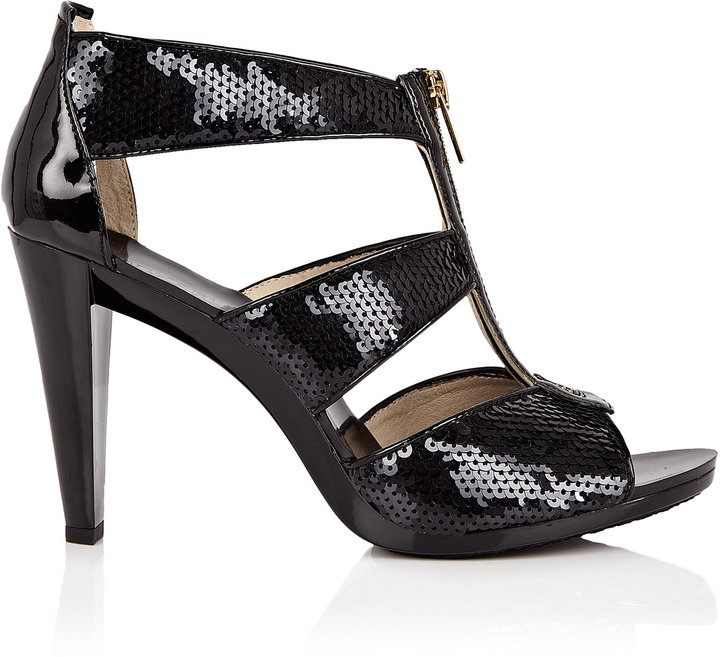 MICHAEL Michael Kors Black Berkley Sequin Embellished Sandal