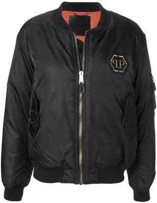 Philipp Plein Roses Black Skull bomber jacket