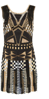 Alberta Ferretti Tulle Embellished Beaded Dress
