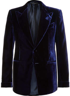 Tom Ford Blue Shelton Slim-Fit Velvet Tuxedo Jacket
