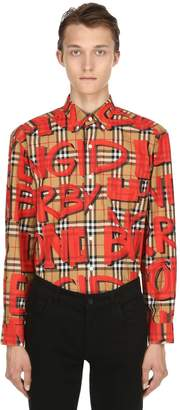 Burberry Sprayed Logo Printed Cotton Poplin Shirt