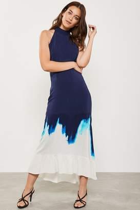 Mint Velvet Womens Iris Print Halter Maxi Dress - Blue