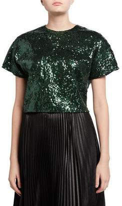 No.21 No. 21 Sequined Cropped Short-Sleeve Top