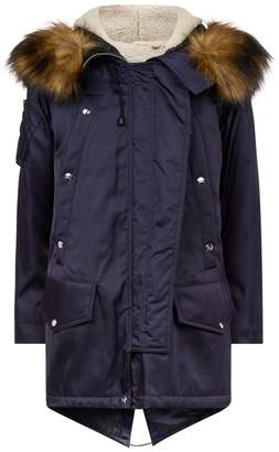 Burberry Faux Fur Trim Coat