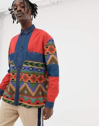 Asos Design DESIGN oversized aztec print denim shirt