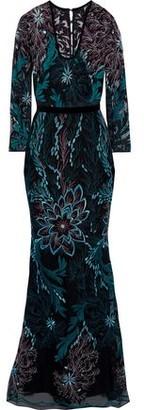 Badgley Mischka Velvet-Trimmed Embroidered Tulle Gown