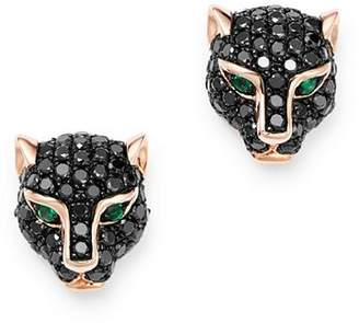 Bloomingdale's Black Diamond & Emerald Panther Stud Earrings in 14K Rose Gold - 100% Exclusive