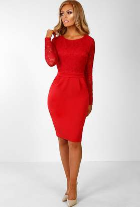 Pink Boutique Hollywood Hun Red Lace Long Sleeve Midi Dress