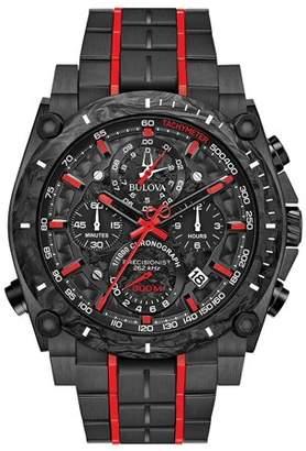 Bulova Precisionist Chronograph Black Stainless Steel Mens Watch 98B313