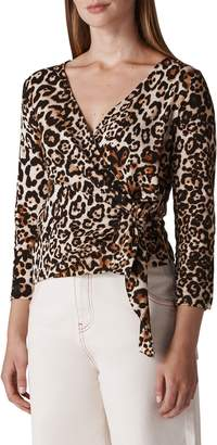 Whistles Leopard Print Wrap Top