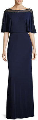 La Femme Beaded Mesh Jersey Column Gown, Navy $398 thestylecure.com