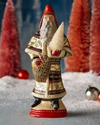 Vaillancourt Folk Art Large Shimmering Santa with Tree Figurine