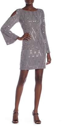 Eliza J Long Sleeve Cold Shoulder Sequin Sheath Dress