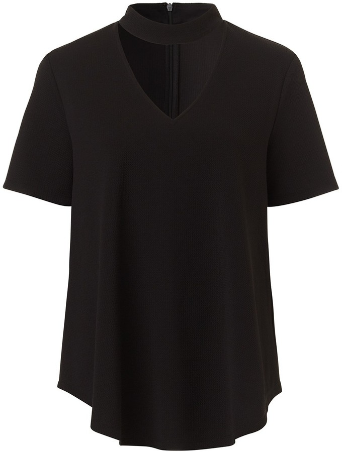 Cut Out Neck Textured Tee